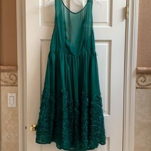 Anthropologie Emerald Sheer and Lace Dress.